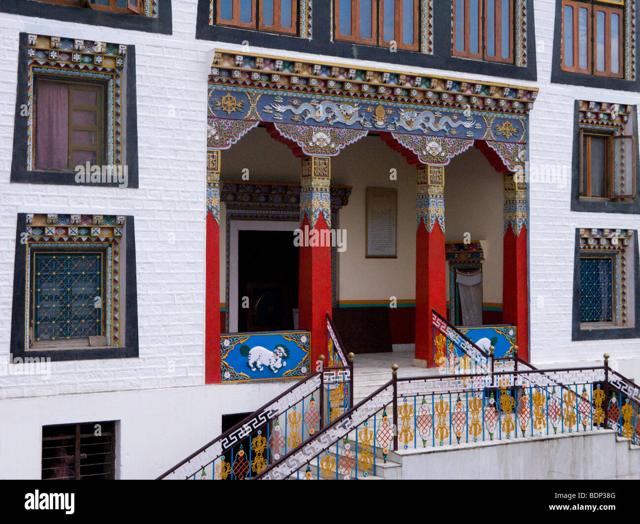 The front and entrance entrance of the Zigar Drukpa Kargyud Institute. Rewalsar. Himachal Pradesh. India. - Stock Image