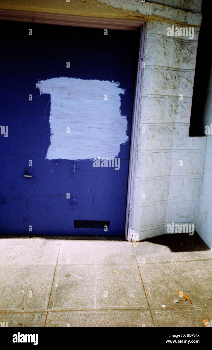 An Blue Urban Garage Door With White Paint Stock Photo 25686638 Alamy