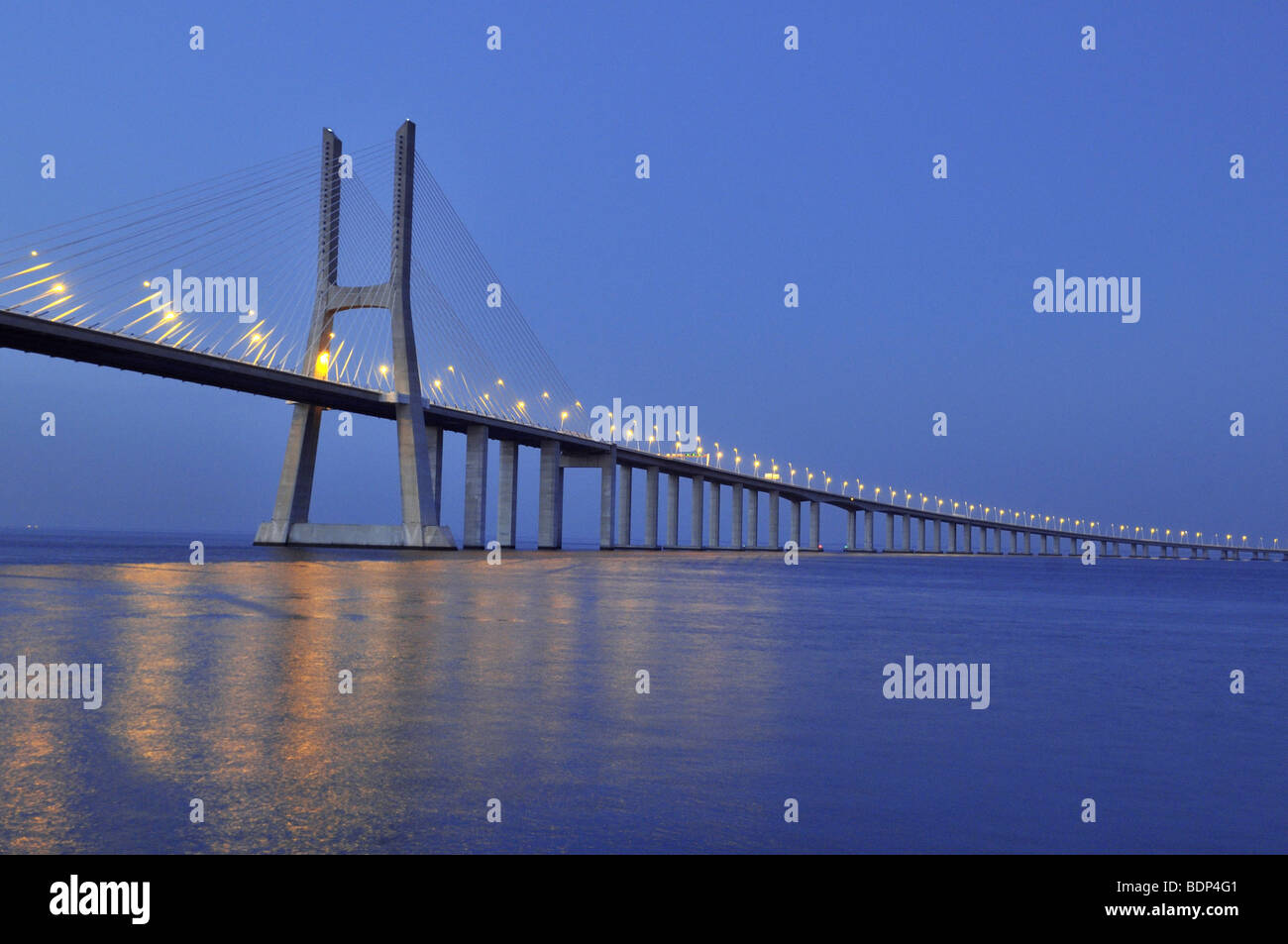 Vasco da Gama bridge over the Rio Tejo river in the Parque das Nações park, site of the Expo 98, Lisbon, Portugal, Stock Photo