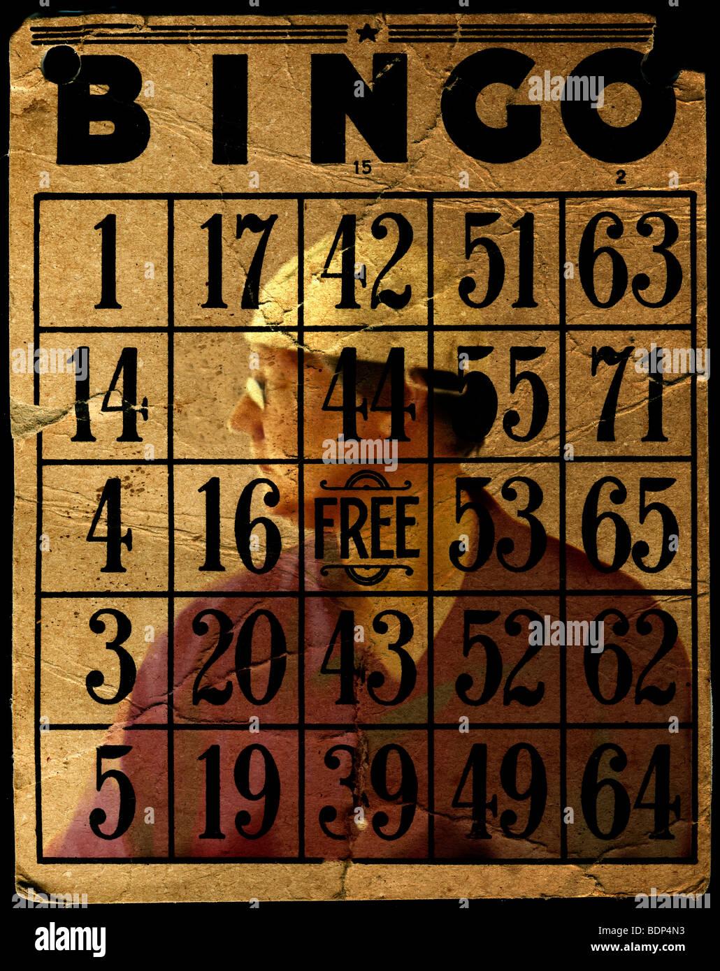 Bingo numbers with a figure - Stock Image