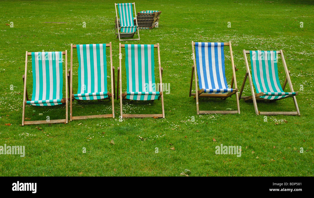 Lawn chairs, St James Park - Stock Image