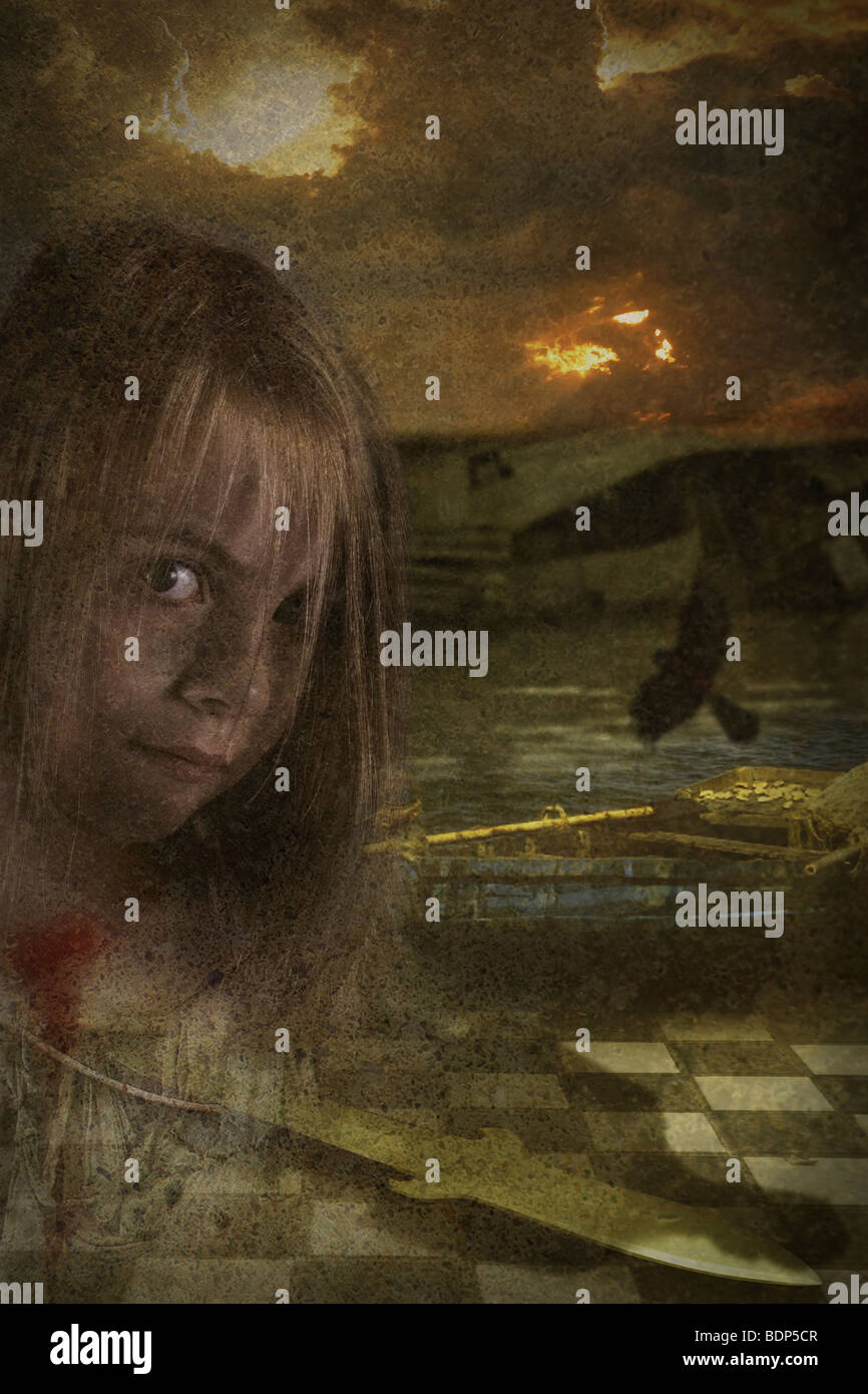 girl looking at the camera with chess board and a dagger below her - Stock Image