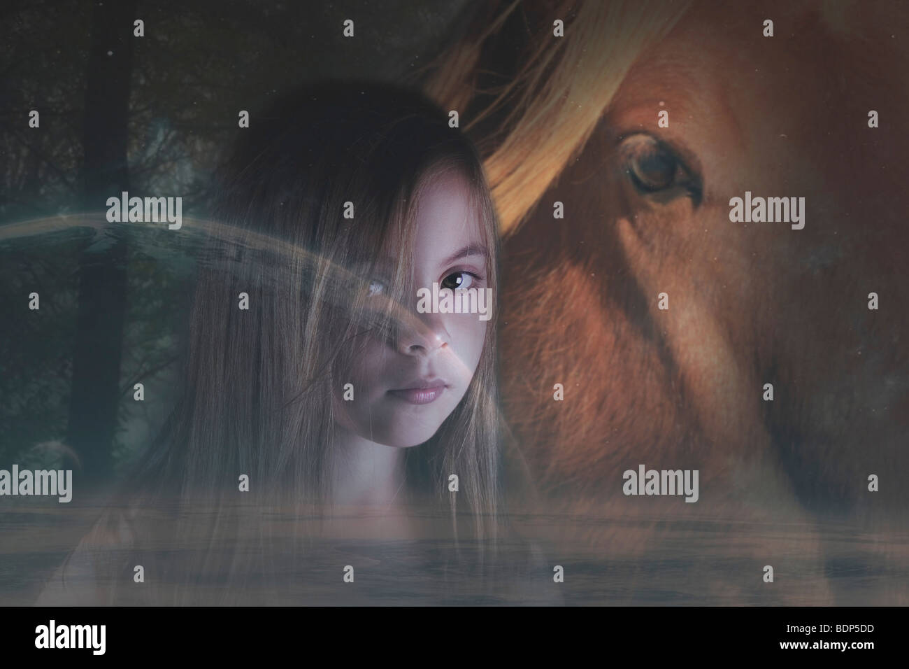 young child with a horse in a fantasy image - Stock Image