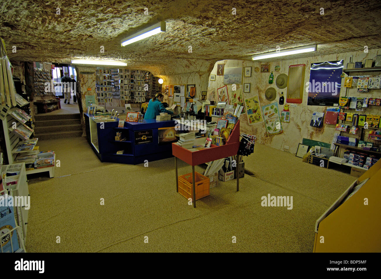Underground bookstore in Coober Pedy, South Australia, Australia - Stock Image