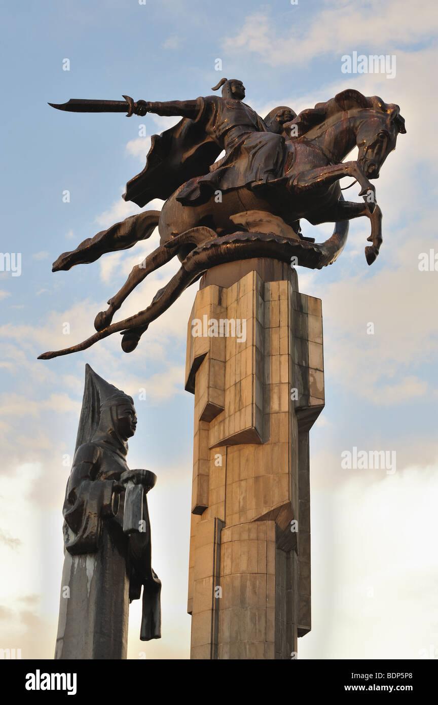 Manas statue, kyrgyz epic poem hero, symbol of Bishkek. Stock Photo