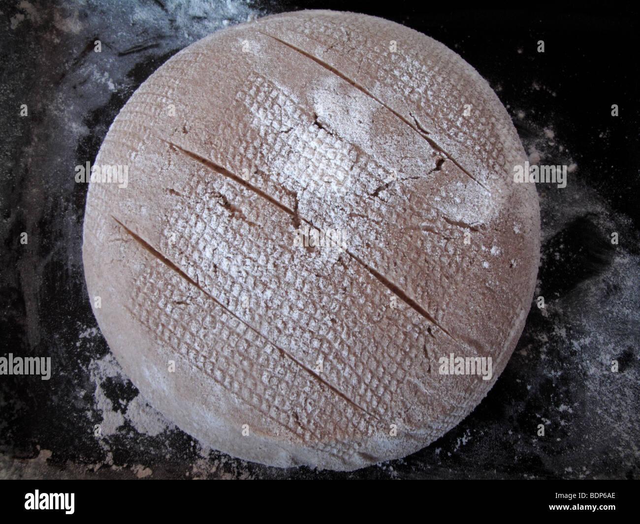 Sourdough bread ready for baking - Stock Image