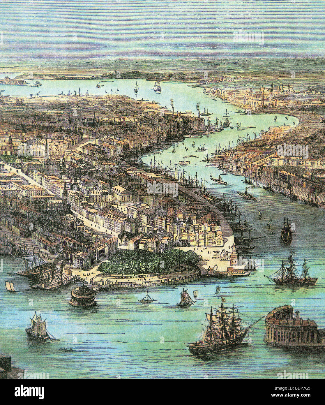 NEW YORK  - coloured earl;y 18th century engraving - Stock Image
