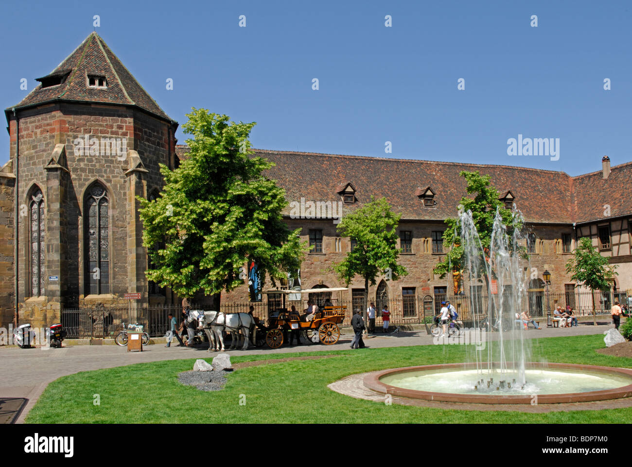 Garden with fountain and the Musee Unterlinden, Colmar in the Haut Rhin (68) departement of France Stock Photo