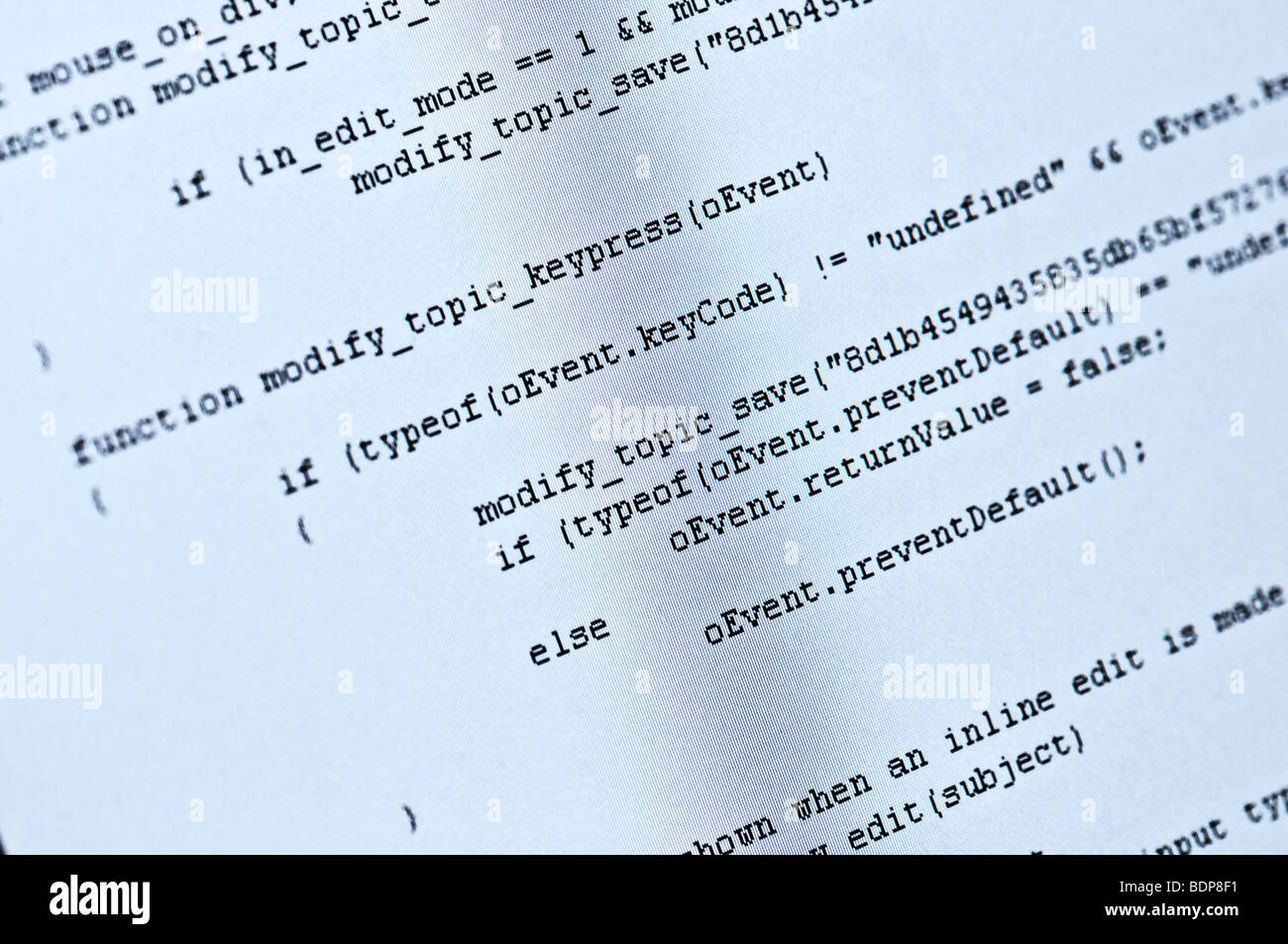 Abstract program code on computer screen - Stock Image