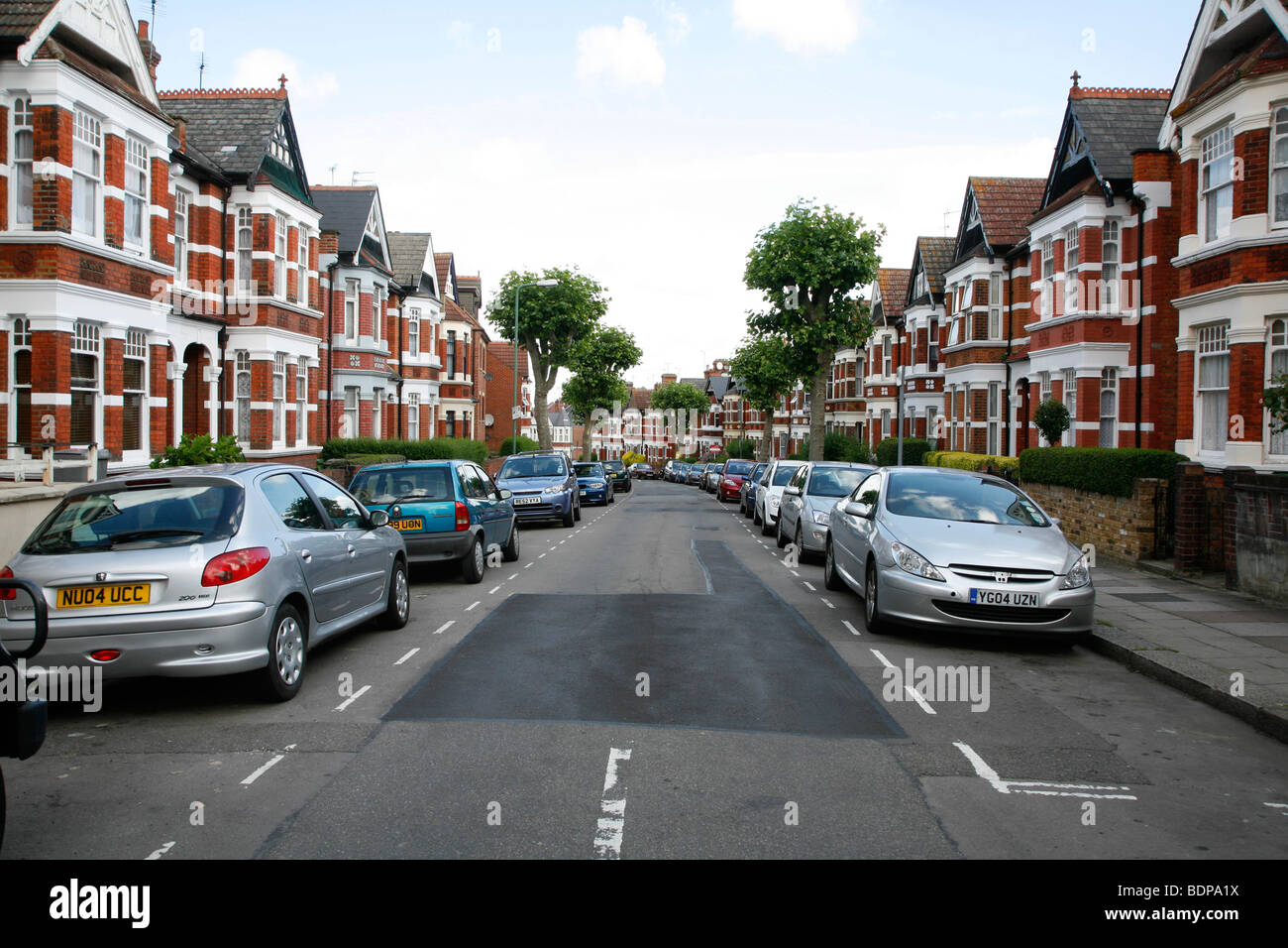 Edwardian housing on Harlesden Gardens, Harlesden, London, UK - Stock Image