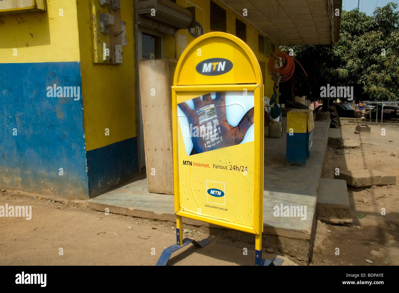 Sign for MTN mobile phone service in Bamessing village in Ring Road area Northwest Province Cameroun West Africa - Stock Image