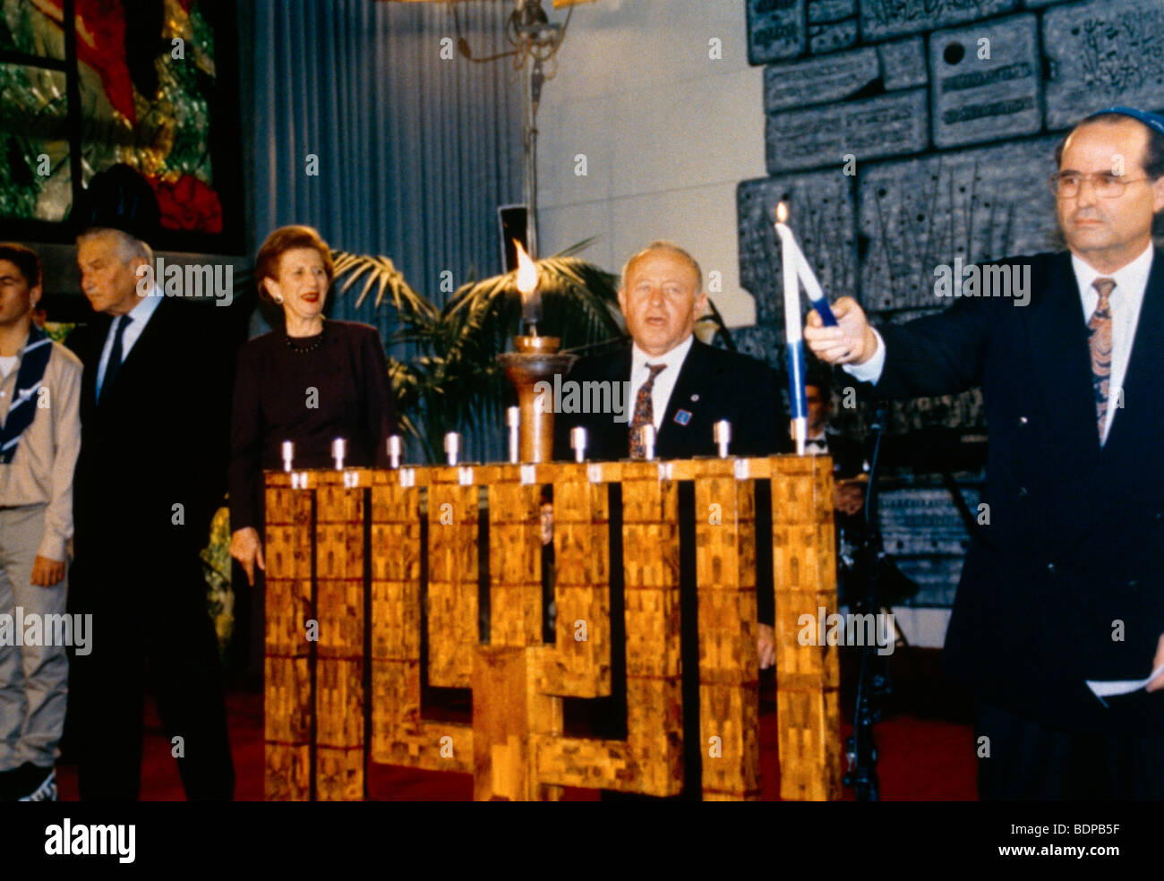 Israel Lighting The Hanukkah At The President Weitzman Home - Stock Image