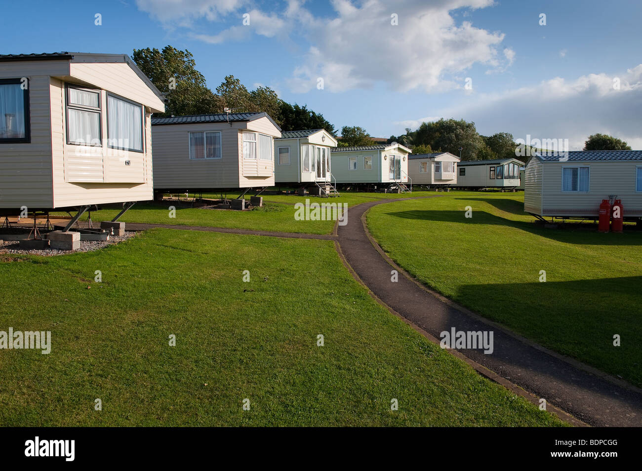 Caravan Park Holiday Home site at Doniford, Somerset with Calor Gas Cylinders Stock Photo