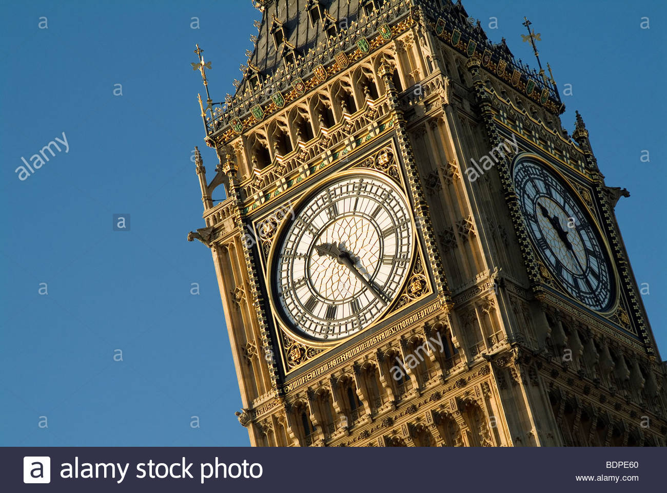Clock Tower of Palace of Westminster (aka Big Ben). Built between 1858-59 by architect Charles Barry. London England - Stock Image
