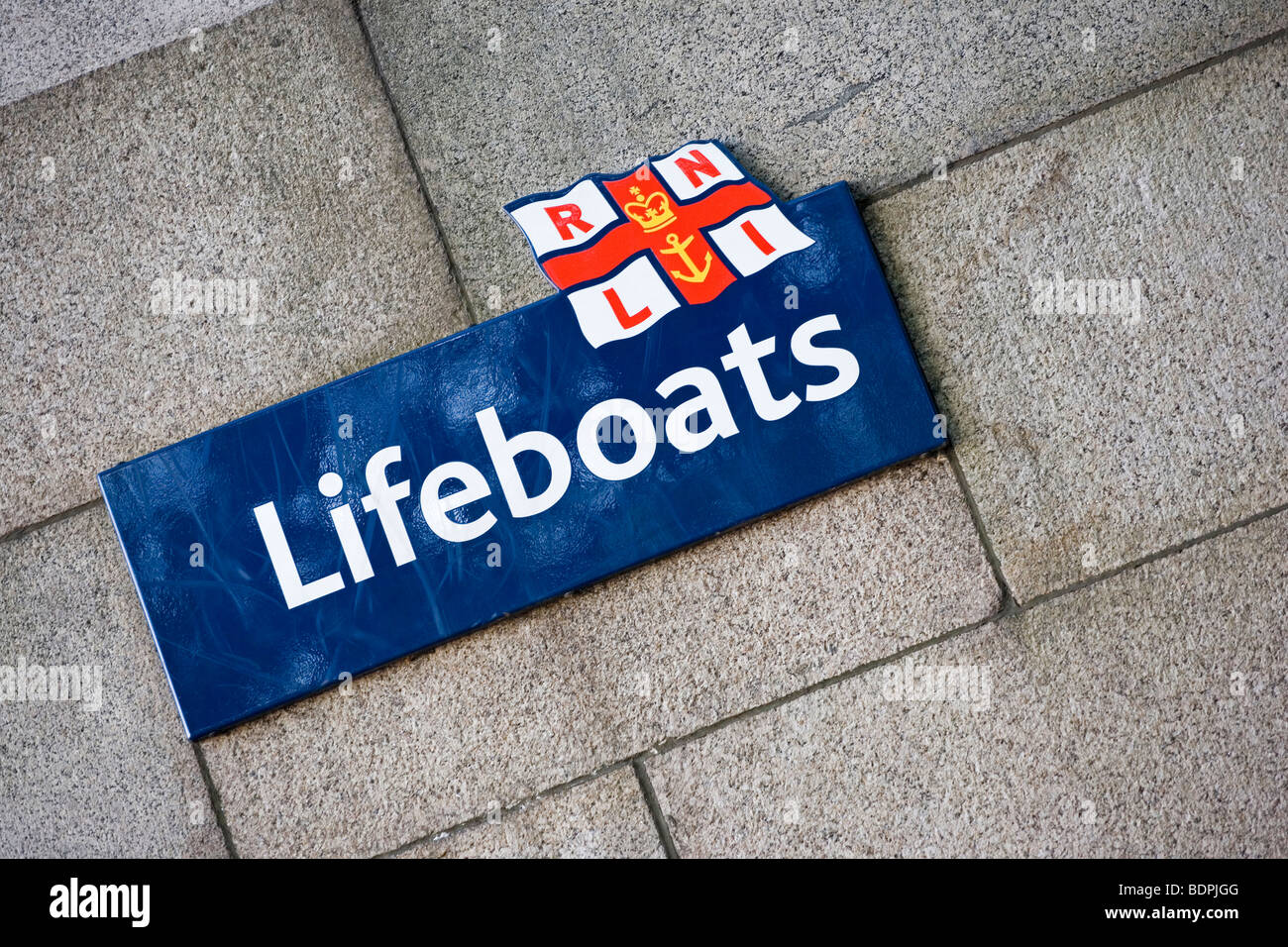 Royal National Lifeboat Institute sign - Stock Image