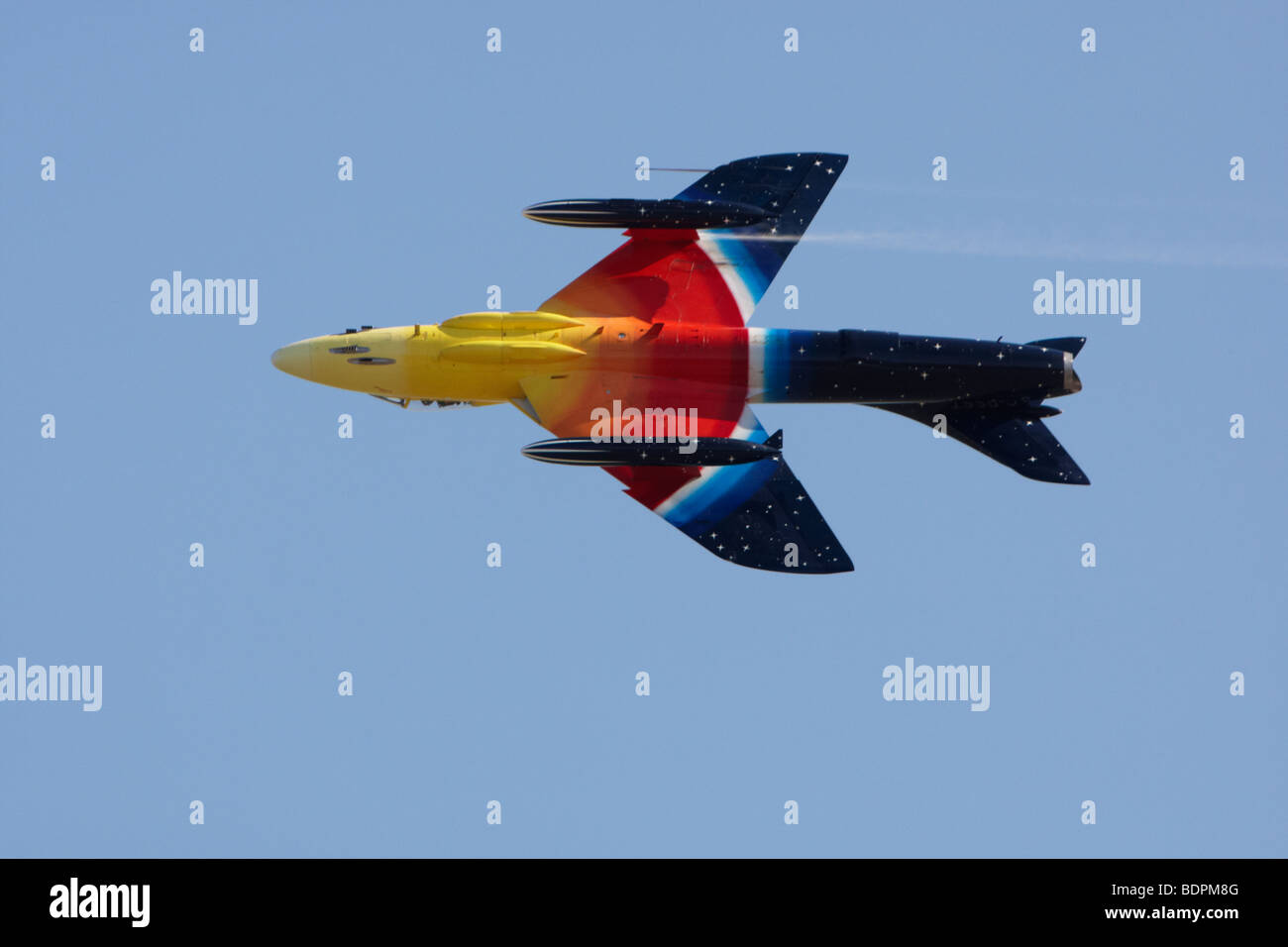 Hawker hunter doing a roll during a display at Clacton, Essex, England, United Kingdom Stock Photo