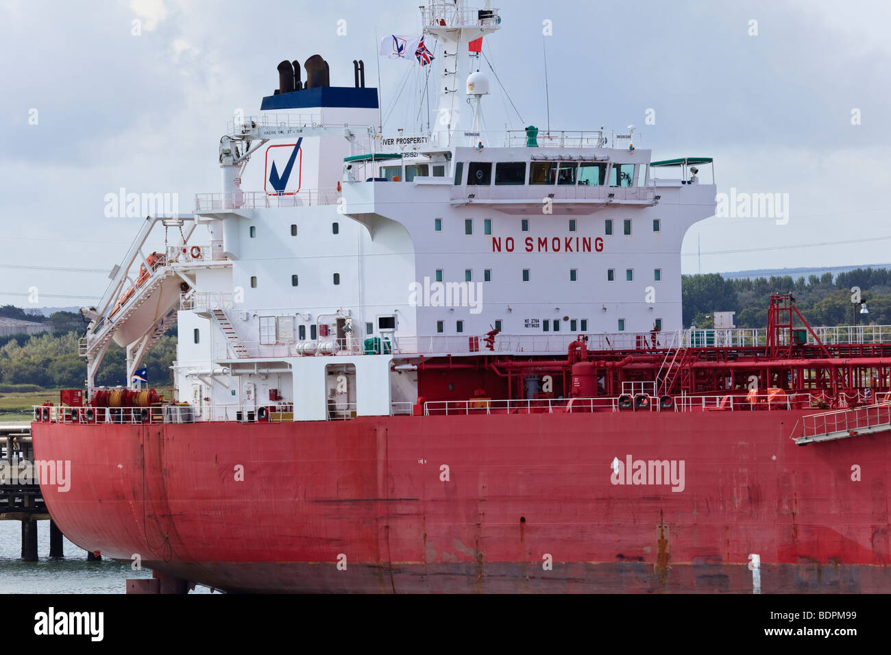 """Tankers """"Iver Prosperity"""" moored at Fawley Oil Terminal, Southampton Water, UK Stock Photo"""