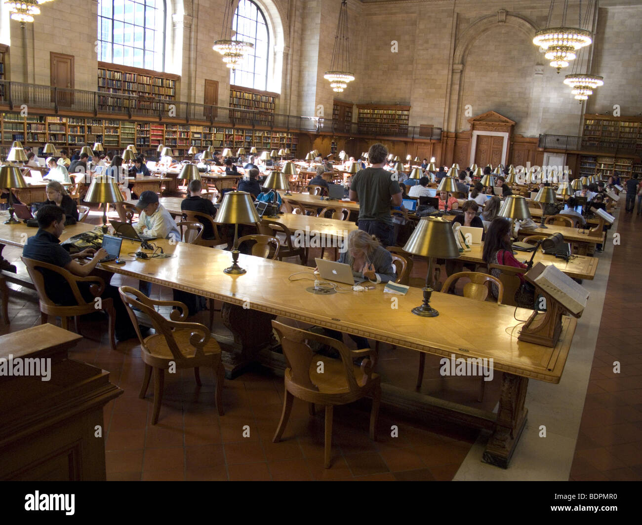 Reference reading room, New York Public Library, 5th Ave. & 42nd St. NYC - Stock Image