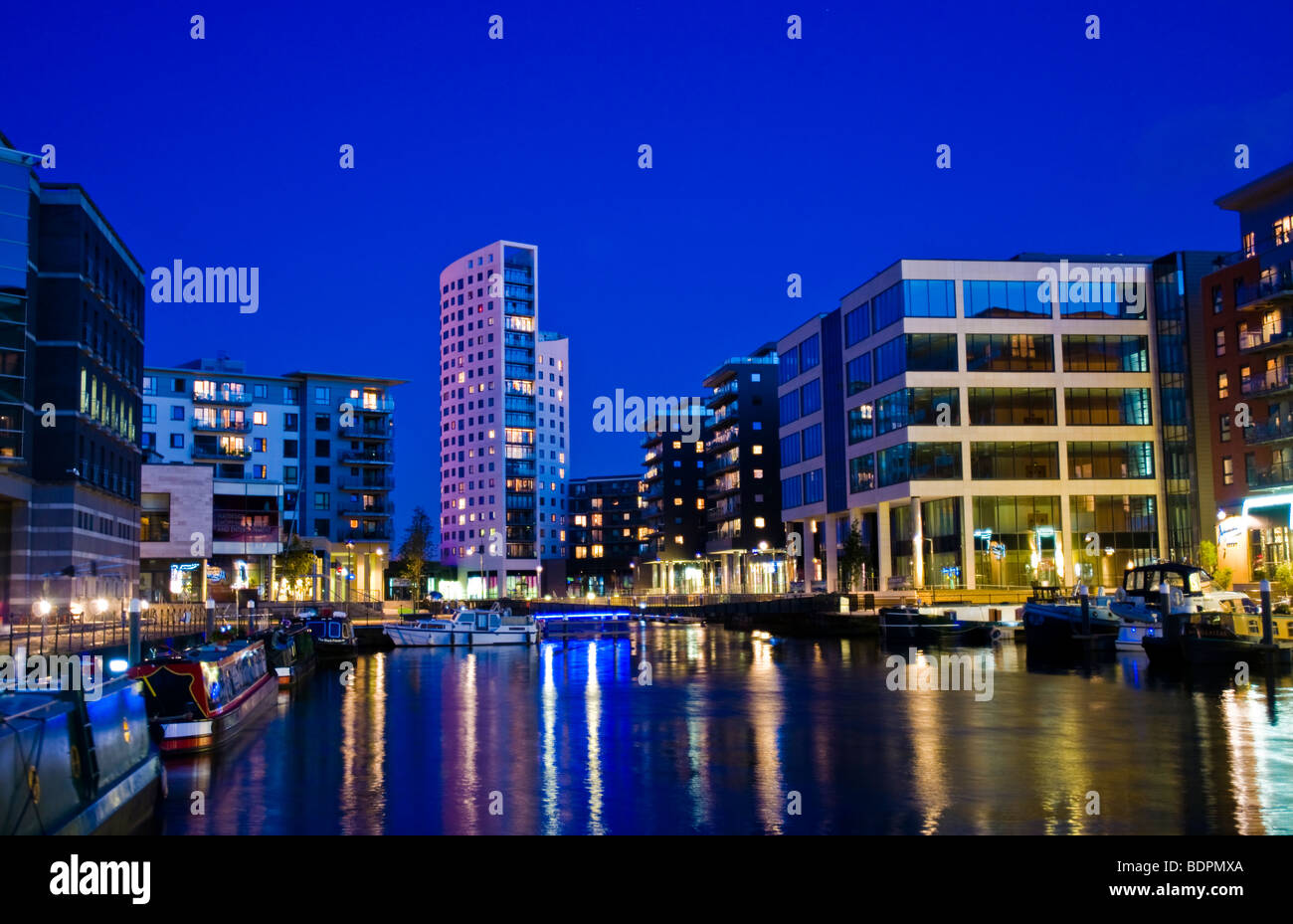 Clarence Dock, Leeds West Yorkshire, at night - Stock Image
