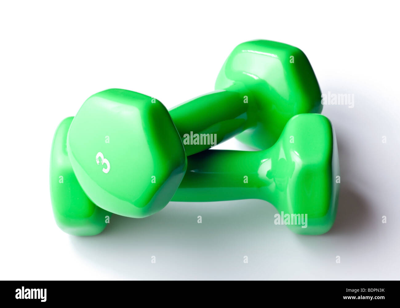 Free weight dumbbells isolated on pure white background - Stock Image
