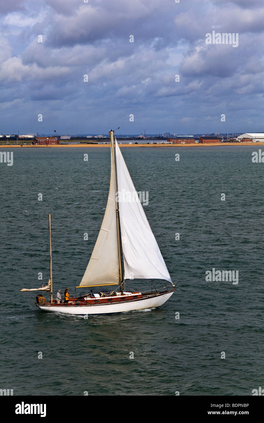 Traditional Ketch, 'Ninja' sailing in the Solent, Heading for Southampton Water, UK - Stock Image