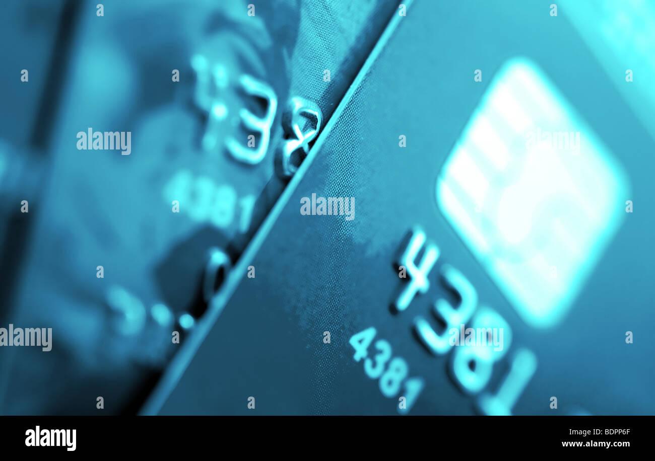 Credit cards macro Small deep of focus. - Stock Image