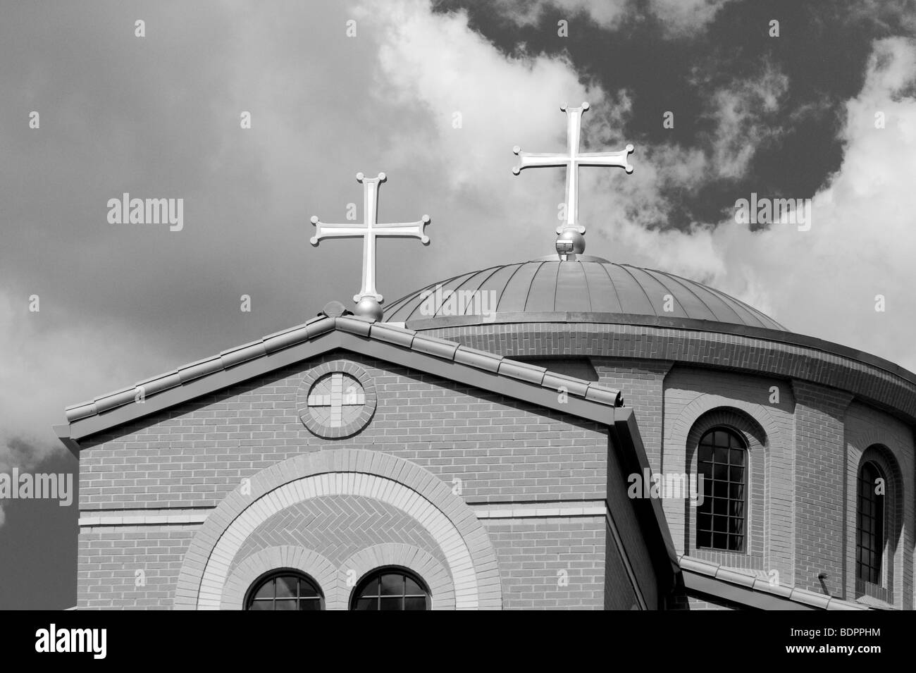A church with two crosses - Stock Image