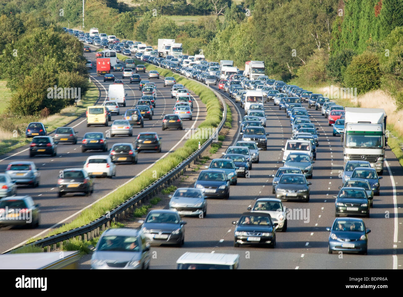 Traffic jam on dual carriageway. A3, Surrey, UK - Stock Image