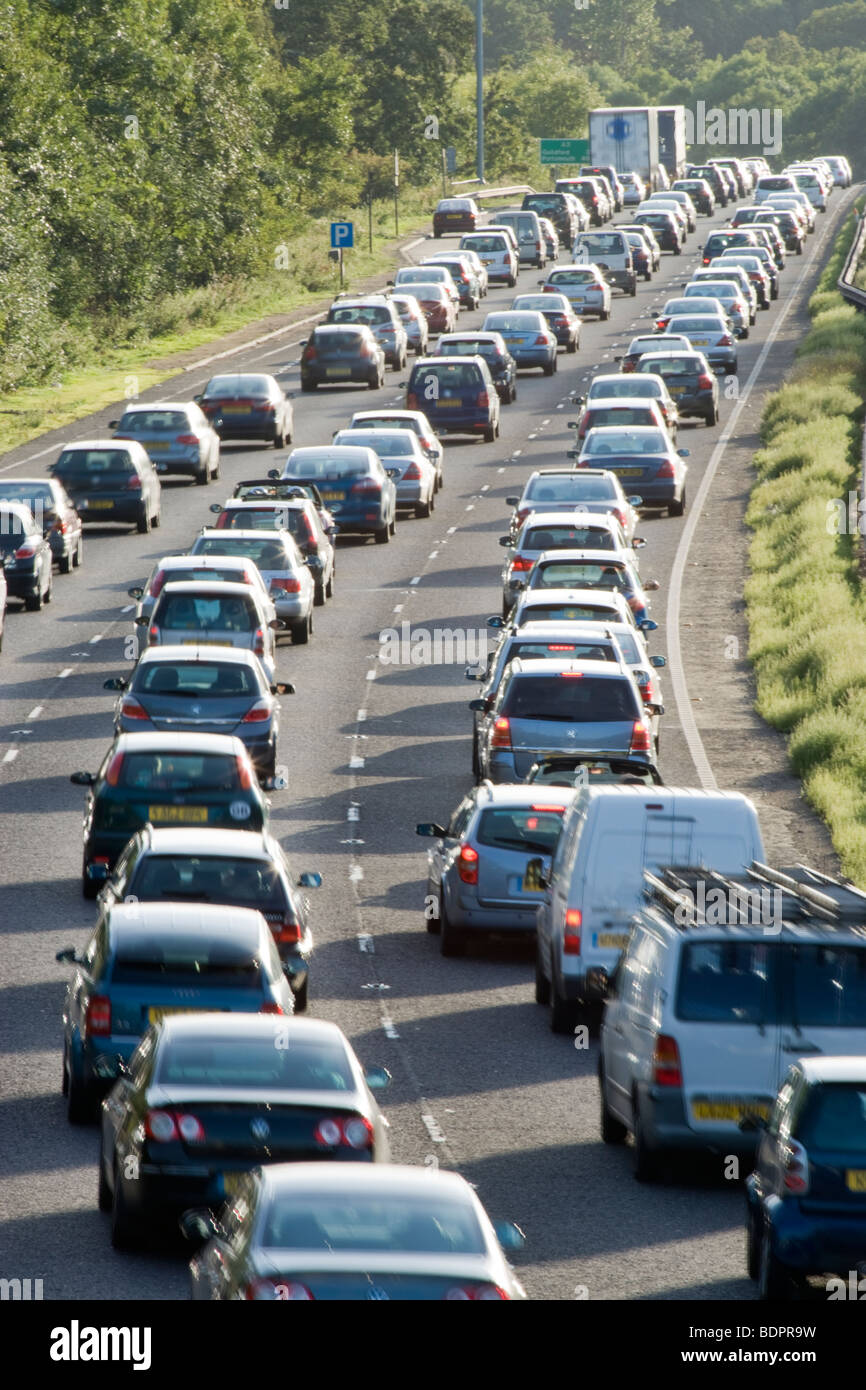 Traffic jam on dual carriageway. A3, Surrey, UK - Stock Image