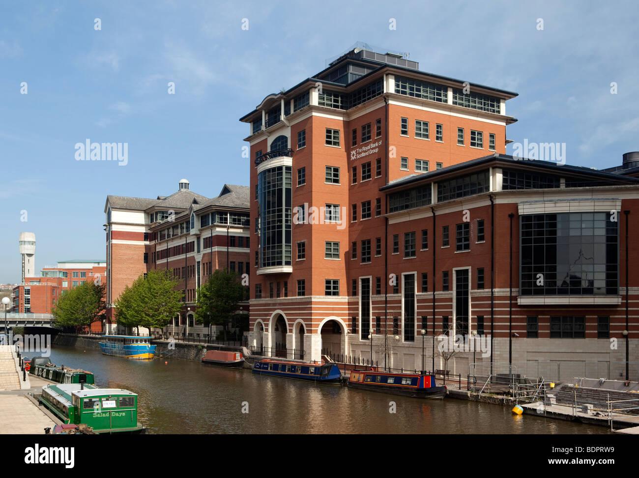 UK, England, Bristol, Temple Quay, River Avon, Royal Bank of Scotland waterfront office - Stock Image