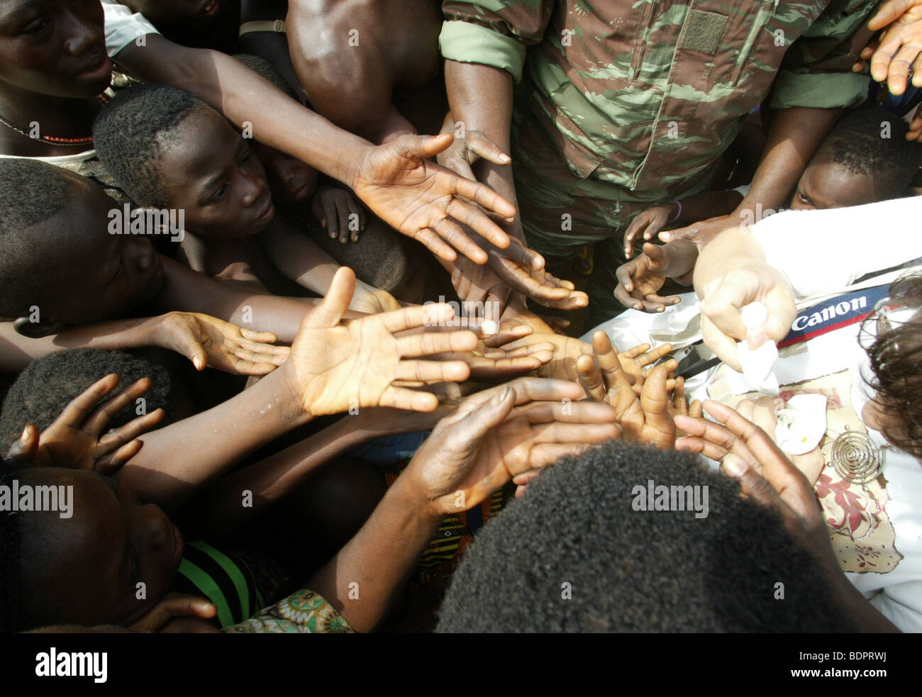 Child's hands in the village Kotopka Stock Photo