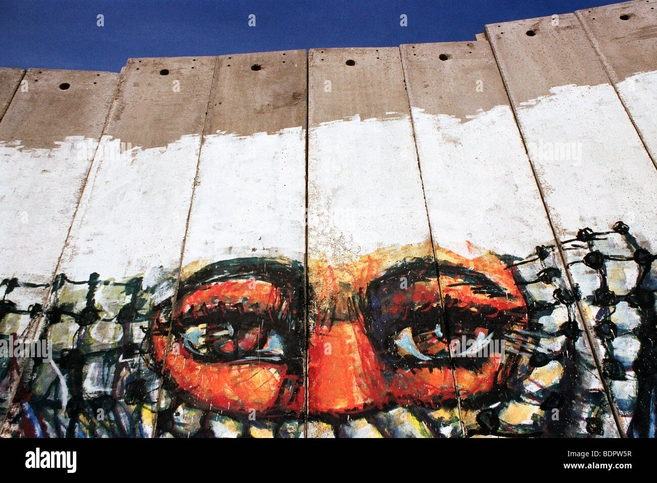 Graffiti on the West Bank wall, Bethlehem - Stock Image