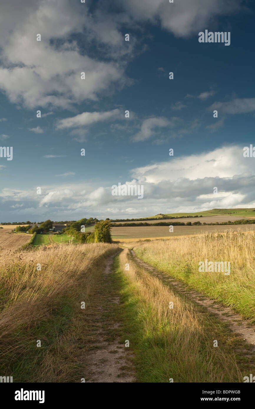 View looking towards White Horse Hill at Uffington, Oxfordshire, Uk - Stock Image