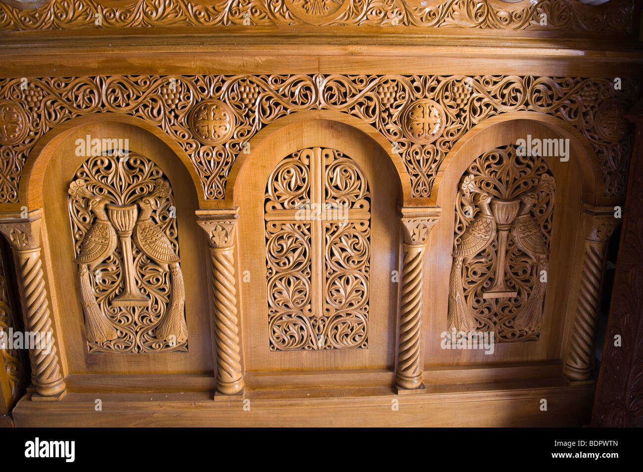 Ornate wood carving in church of virgin mary lagouvarda virgin mary