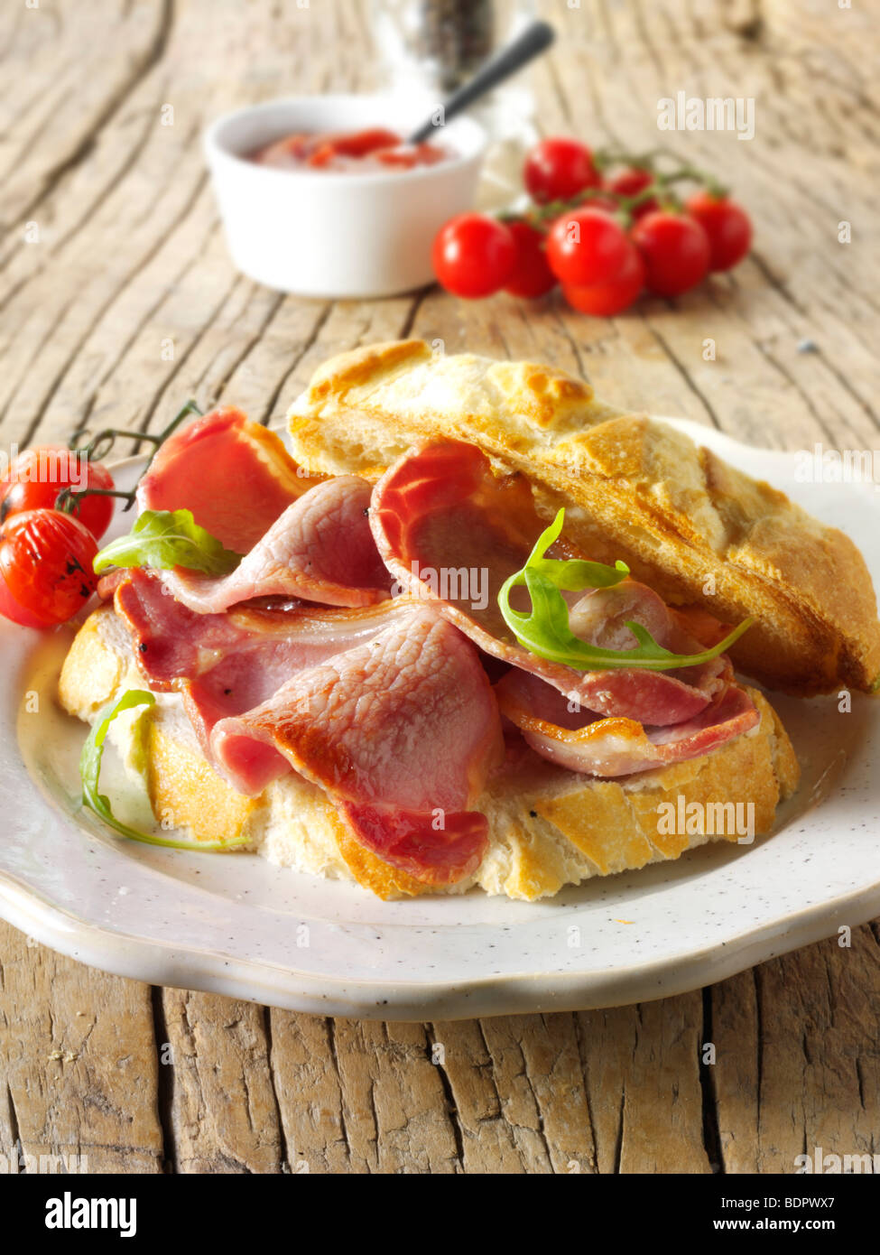 Traditional bacon sandwich - Stock Image