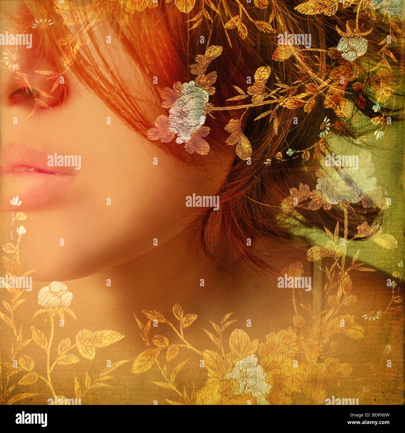 The face of a young woman overlaid with a floral design. - Stock Image