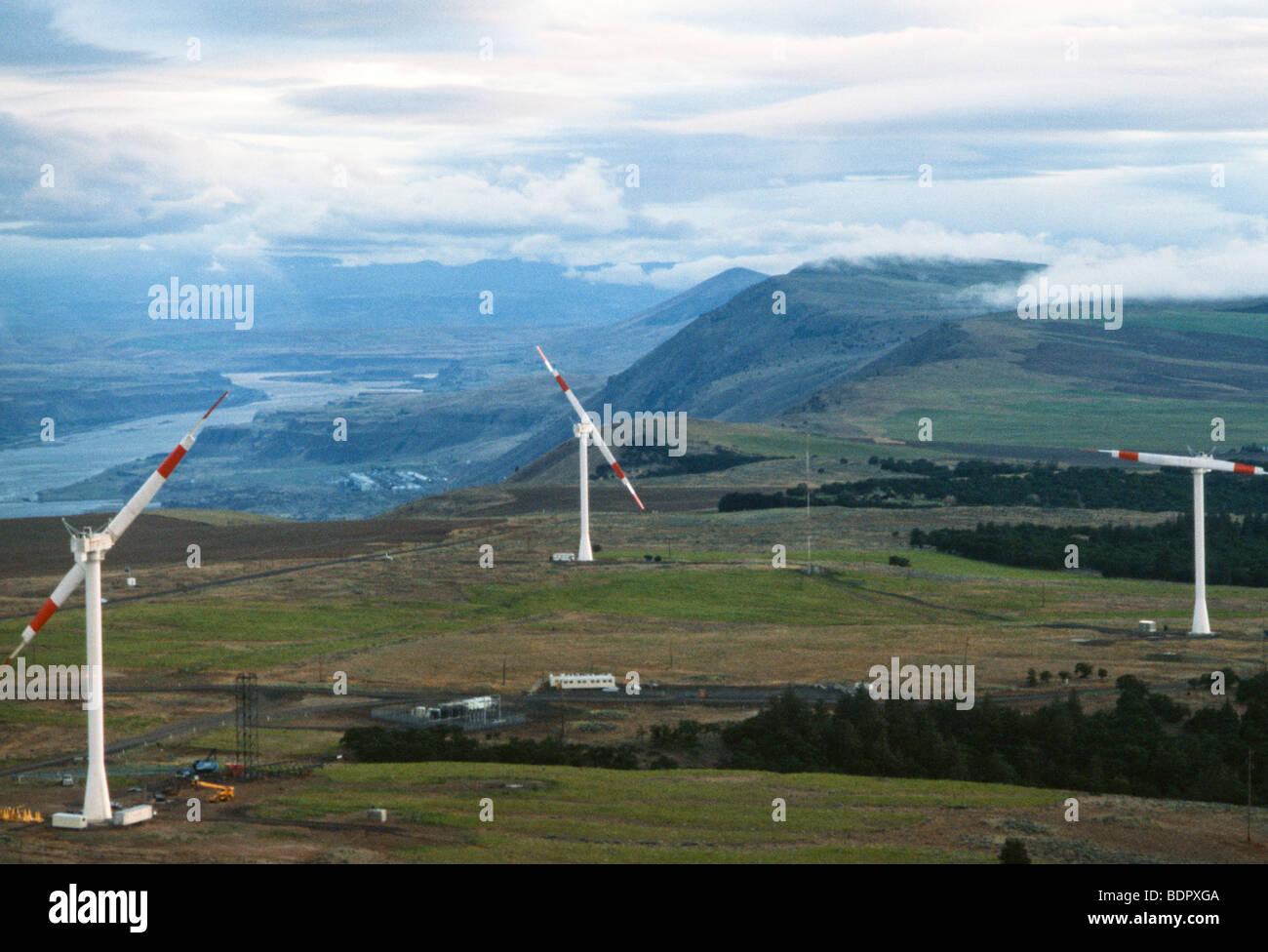 Washington State windmills, aerial view of world's largest wind turbines - Stock Image