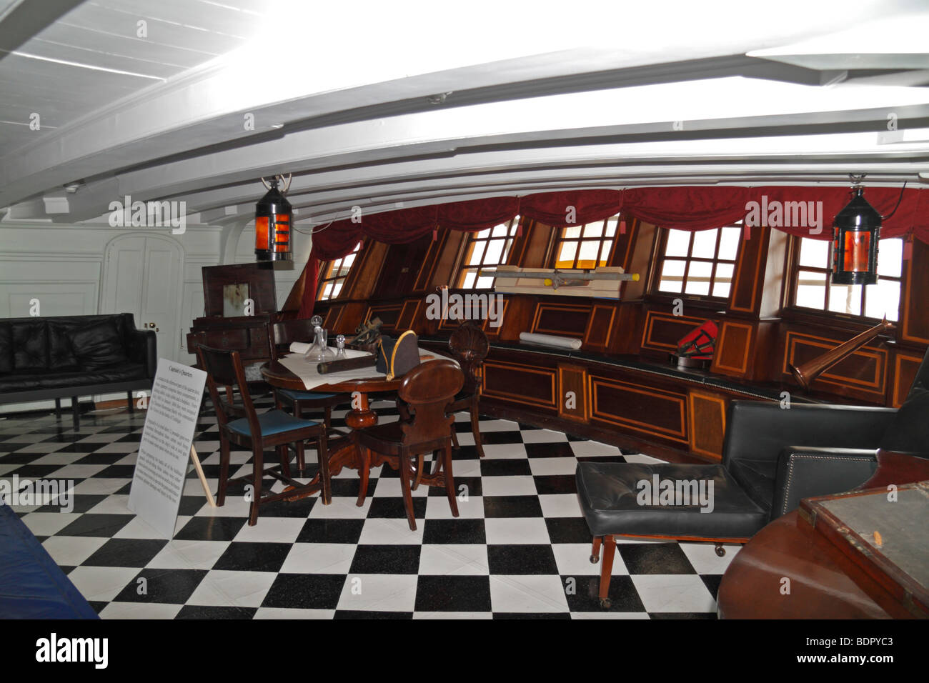The Captain's day cabin onboard the HMS Victory, Nelson's flagship in Portsmouth Historic Dockyard, Hampshire, - Stock Image