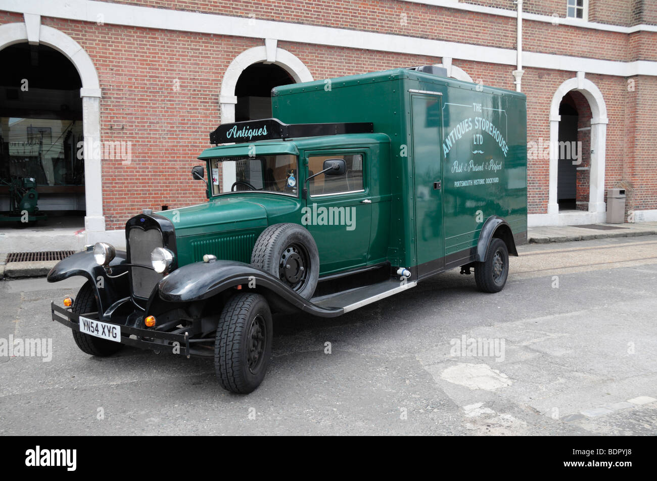 An old fashioned antiques delivery truck on display in the ...