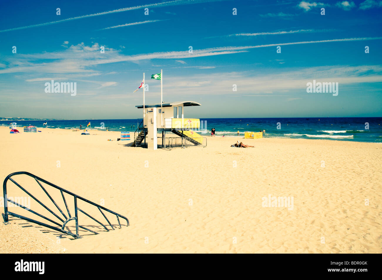 A beach rescue watch tower - Stock Image