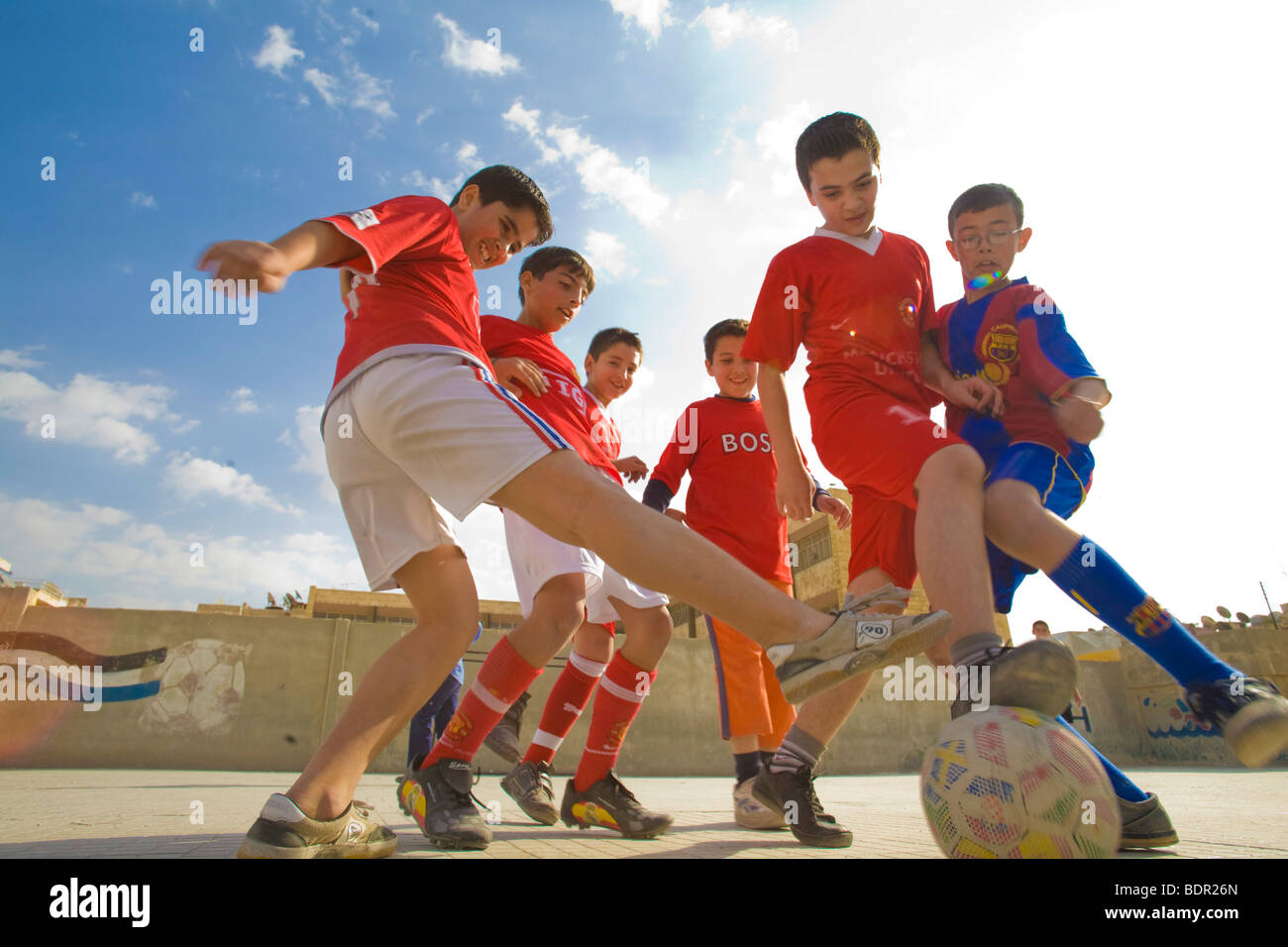 Children playing soccer . - Stock Image