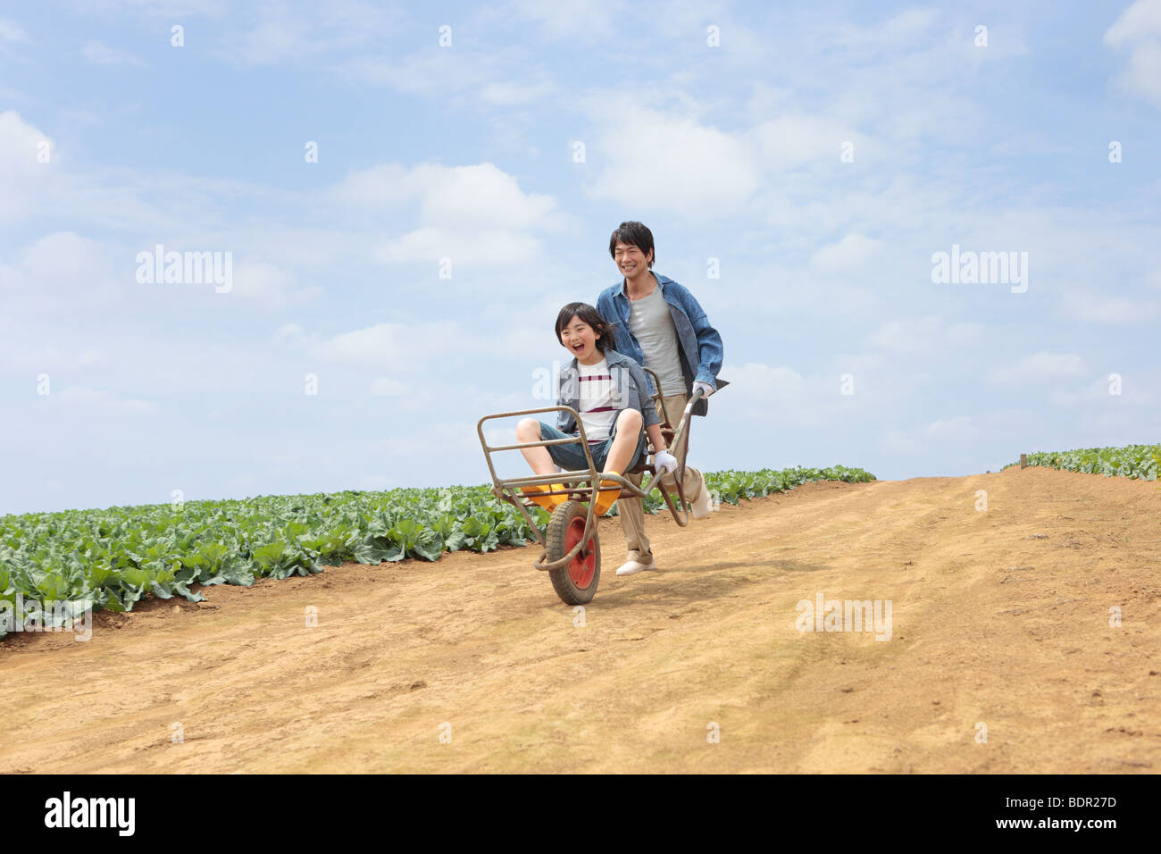 Father carrying son by wheelbarrow - Stock Image