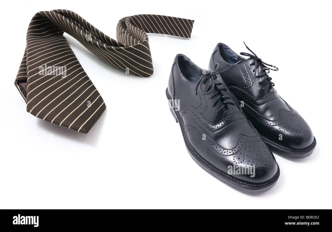 Necktie and Shoes - Stock Image