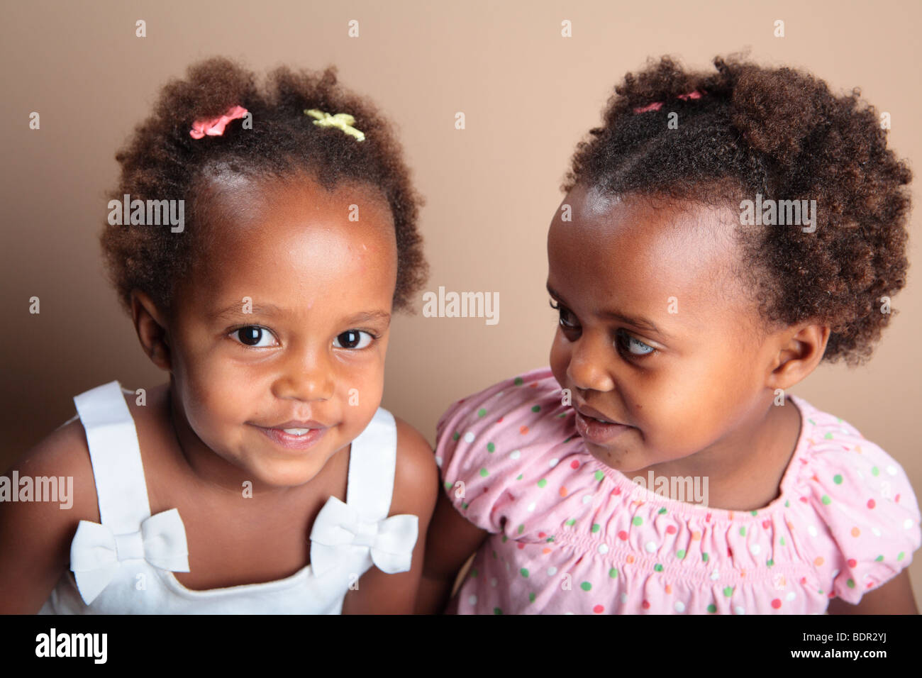 Twin african american girls stock image