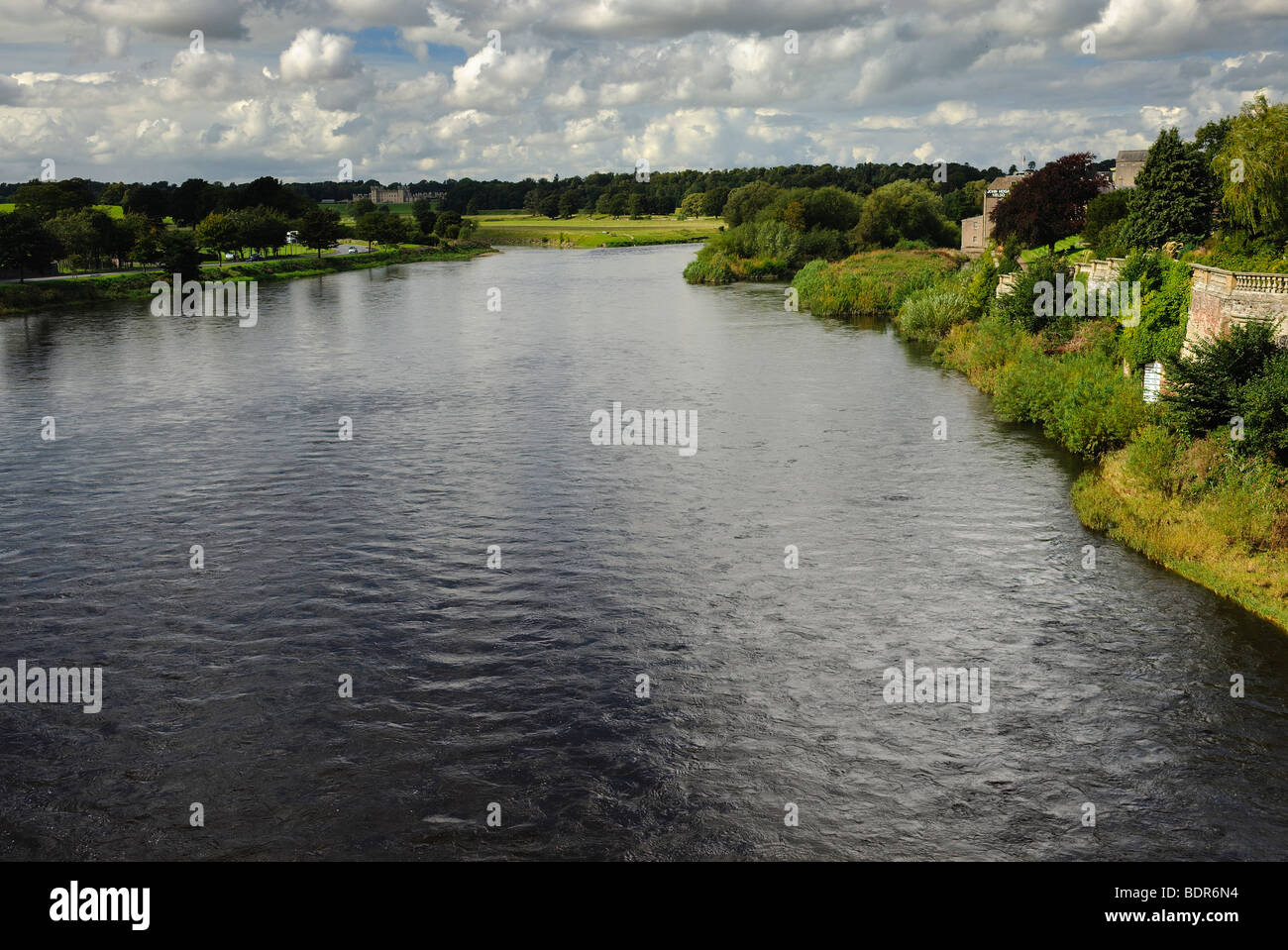 Junction Pool on the River Tweed at Kelso, Scotland, United Kingdom - Stock Image