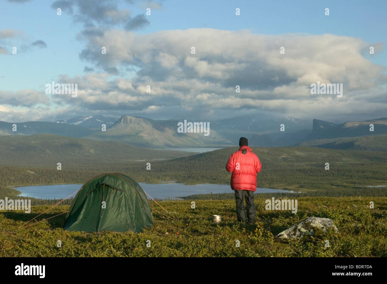 Camping with a view over mountain landscape Lapland Sweden. - Stock Image