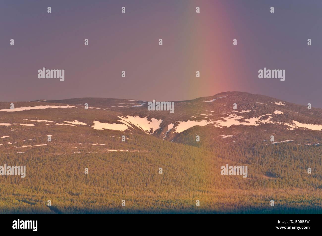 regenbogen ueber landschaft in gaellivare, lappland, schweden, rainbow at landscape in lapland, sweden Stock Photo