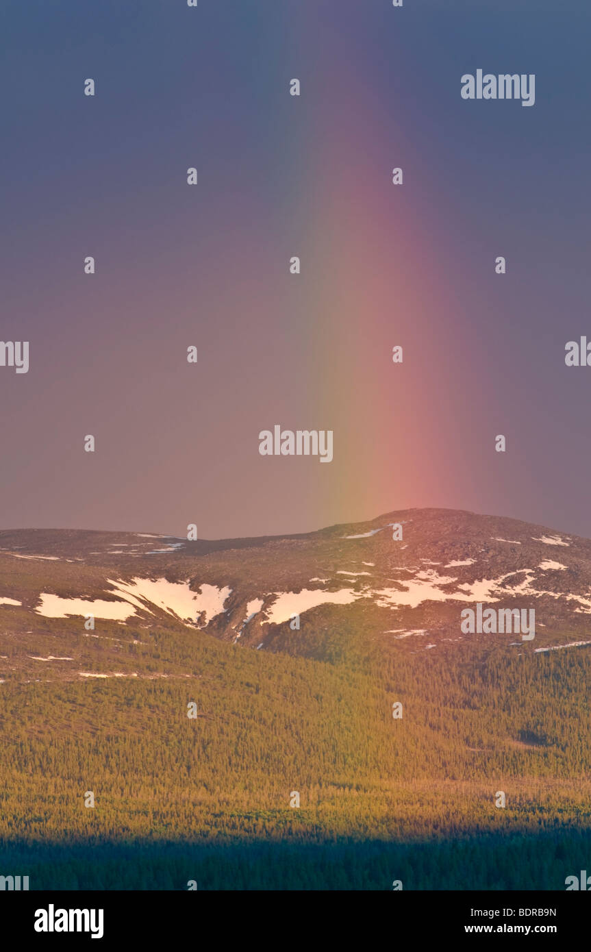 regenbogen ueber landschaft in gaellivare, lappland, schweden, rainbow at landscape in lapland, sweden Stock Photo