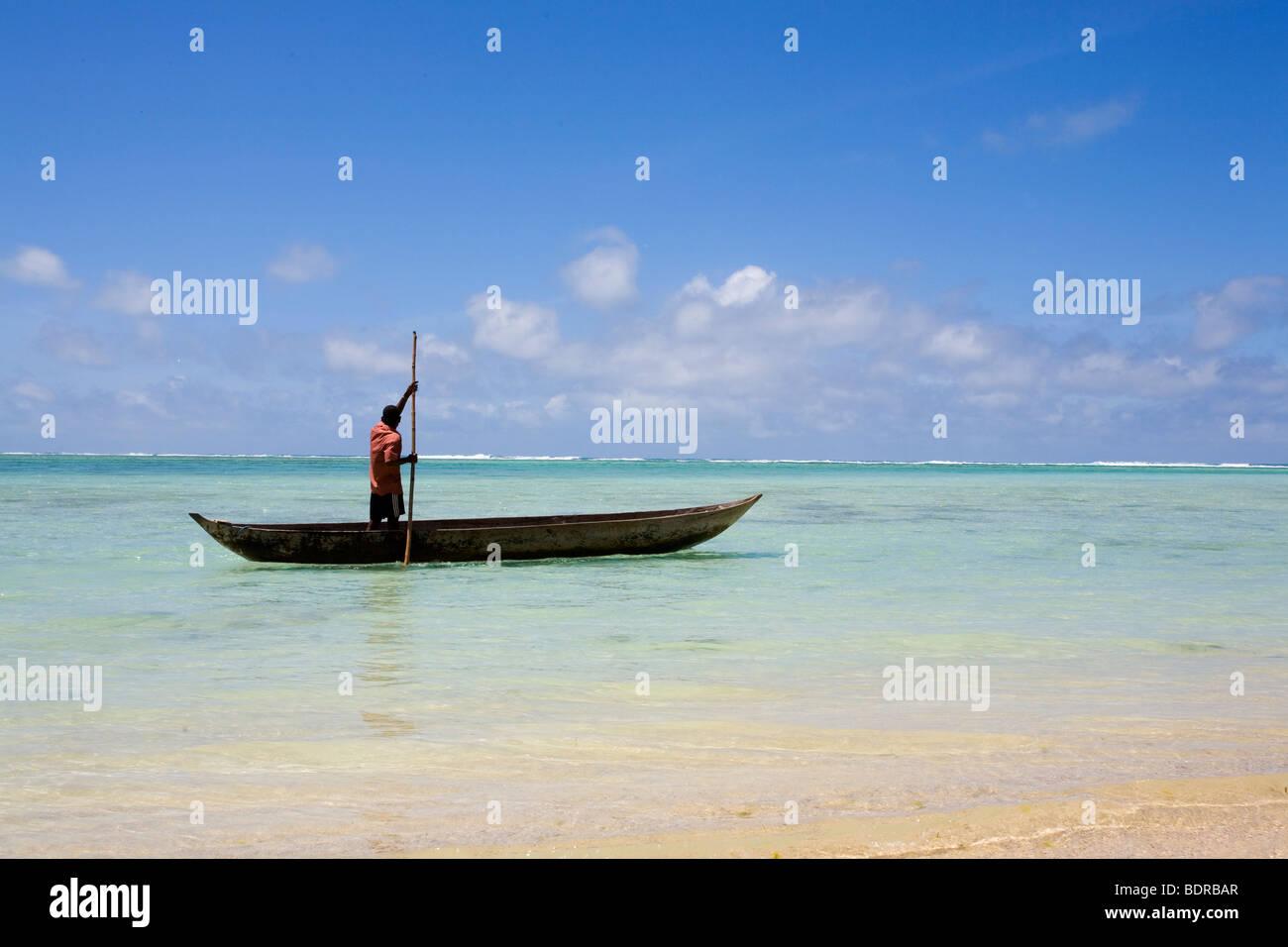 Mann im Einbaum, Nosy Nato, Madagaskar, Afrika, man, boat, dug-out, beach, Madagascar, Africa Stock Photo