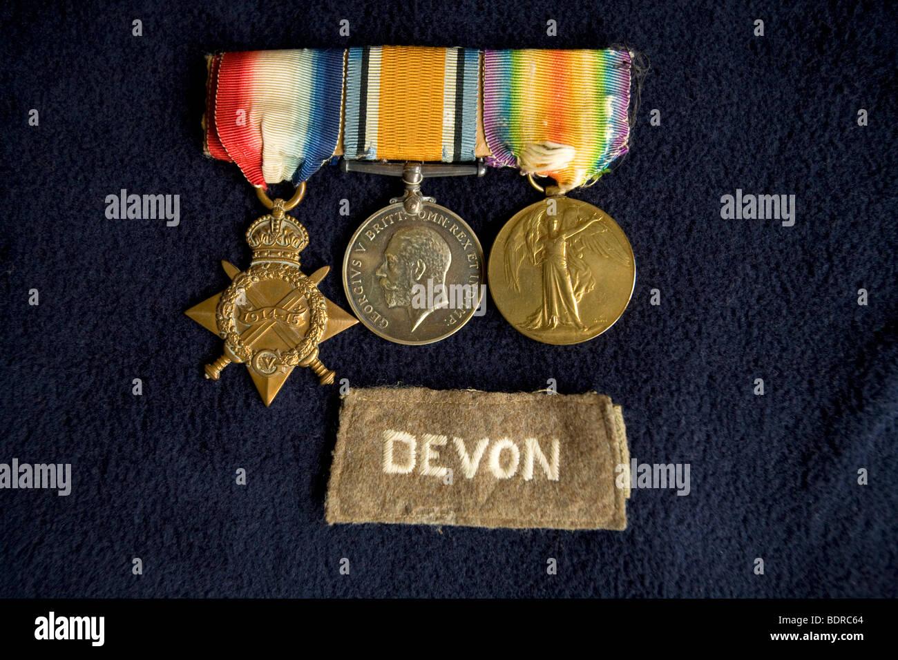 World War One 1 Medals 1914-1915 Star, British War Medal, Victory Medal - Stock Image